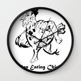 Man Eating Chicken 003 Wall Clock