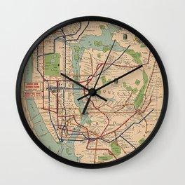 New York City Metro Subway System Map 1954 Wall Clock