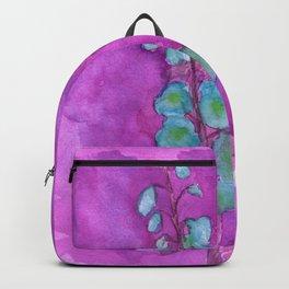 Hollyhock Foxglove Watercolor on Fuchsia Magenta Backpack