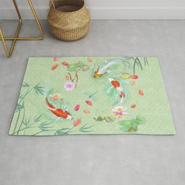Watergarden with koi - green Rug