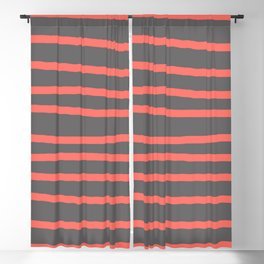 Living Coral Stripes on Gray Blackout Curtain
