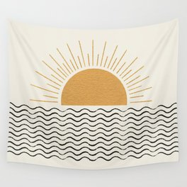Sunrise Ocean -  Mid Century Modern Style Wall Tapestry