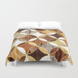 Wood and Gold Geometric Duvet Cover