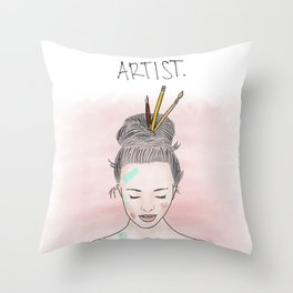 Artist with a Bun Throw Pillow