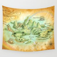neverland Wall Tapestries featuring Neverland Map by Mercedes Jennings