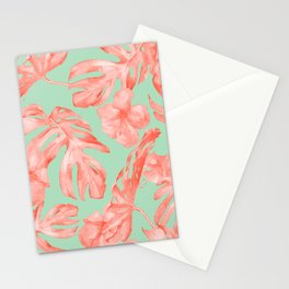 Island Life Coral Pink + Pastel Green Stationery Cards