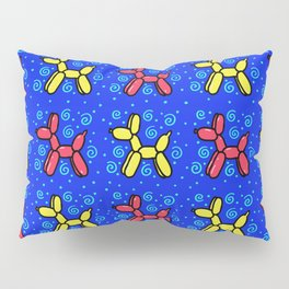 Balloon Dogs: Red and Yellow on Blue Pillow Sham