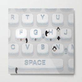 Frozen Keyboard Metal Print