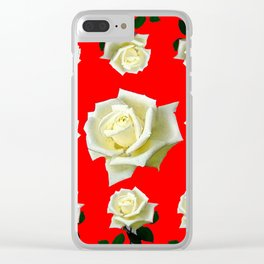 WHITE ROSES RED GARDEN DESIGN Clear iPhone Case
