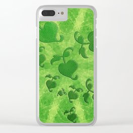Vine leaves on green kaleidoscope Clear iPhone Case