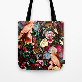 Floral and Animals pattern II Tote Bag