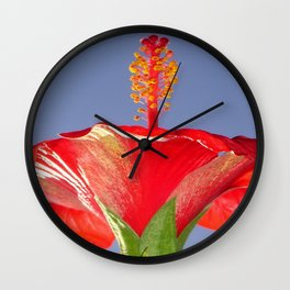 Tropical Red Hibiscus Flower Against Blue Sky Wall Clock