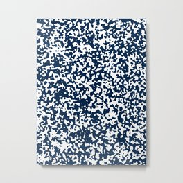 Small Spots - White and Oxford Blue Metal Print