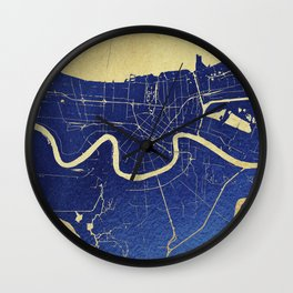 New Orleans Blue and Gold Map Wall Clock
