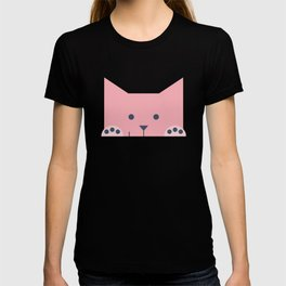 Peek-a-Boo Kitty with Paws Up and Little Smile, Pink and Navy T-shirt