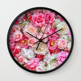 Pink & Red Roses Wall Clock