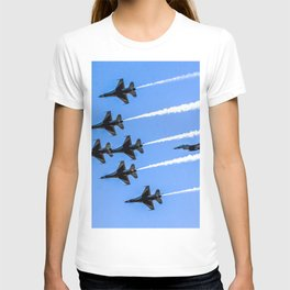 The US Air Force Thunderbirds show their precision formation as they fly over NASAs Kennedy Space Ce T-shirt