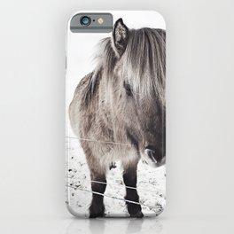 snowy Icelandic horse bw iPhone Case