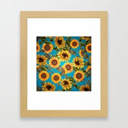Vintage & Shabby Chic - Sunflowers on Turqoise Framed Art Print