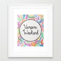 vampire weekend Framed Art Prints featuring Vampire weekend by alquimie