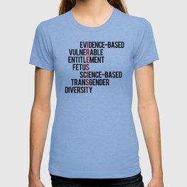 Donald Trump's seven banned words CDC: I RESIST 7 evidence-based vulnerable entitlement fetus T-shirt