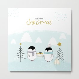 Merry Christmas with sweet penguins Metal Print
