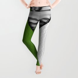 Black White and Grassy Green Leggings