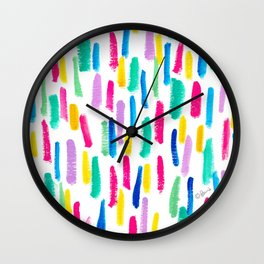 Just Enjoy colorful abstract painting lines pattern minimalism modern minimalist brushstrokes Wall Clock