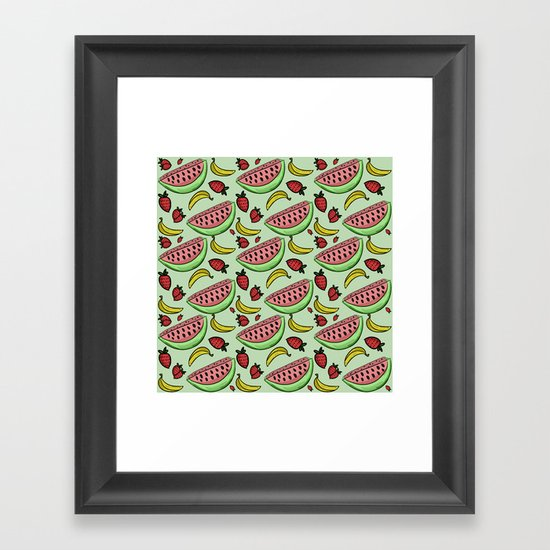Fruit Pattern - Watermelon, Strawberry, Banana Framed Art Print