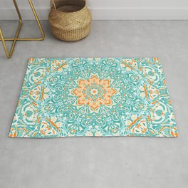 Orange and Turquoise Floral Mandala Rug