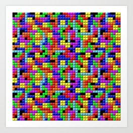 Tetris Inspired Retro Gaming Colourful Squares Kunstdrucke