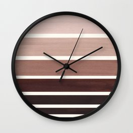 Raw Umber Minimalist Mid Century Modern Color Fields Ombre Watercolor Staggered Squares Wall Clock