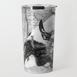 The Charging Bull, In the snow. Travel Mug