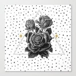 Vintage black rose in a pyramid. Canvas Print