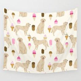 Golden Retriever dog breed pet portrait ice cream custom pet illustration by pet friendly Wall Tapestry