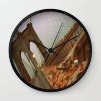 brooklyn bridge Wall Clocks featuring Brooklyn Bridge  by S|Tarah