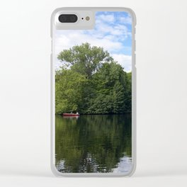 A boat on a lake in Berlin, Germany Clear iPhone Case