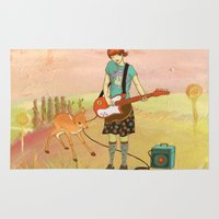 fawn Area & Throw Rugs featuring Guitar Fawn by fawnfruits