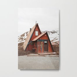 Red Cabin Metal Print