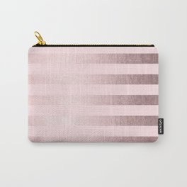 Shimmer Stripes Rose Gold Palace on Pink Carry-All Pouch