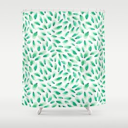 Green Brush Stroke  Shower Curtain