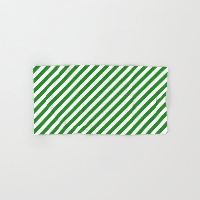 Diagonal Stripes (Forest Green/White) Hand & Bath Towel