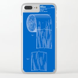 Toilet Paper Roll Patent - Blueprint Clear iPhone Case