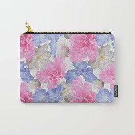 Pink Glads Blue Iris Flowers Large Carry-All Pouch