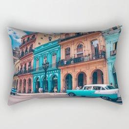 Vintage Cuban colorful building and cars Rectangular Pillow