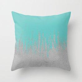 Concrete Fringe Turquoise Throw Pillow