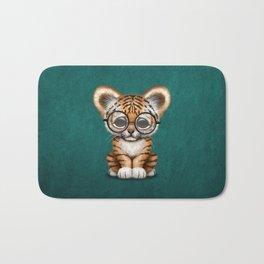 Cute Baby Tiger Cub Wearing Eye Glasses on Teal Blue Bath Mat