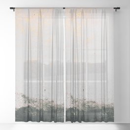 abstract smoke wall painting Sheer Curtain