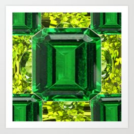 EMERALDS &  LIME GREEN PERIDOT GEMS BIRTHSTONES Art Print
