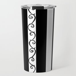 Stripes and Thorny Vines by Dark Decors - Black and Whites Travel Mug